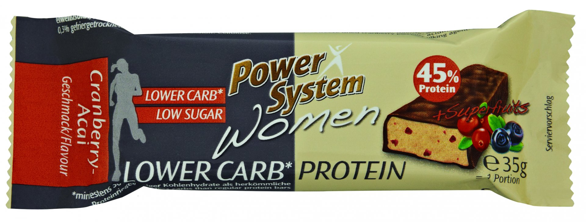 Power System Women LOWER CARB Protein Bar 45% Cranberry Acai 35g
