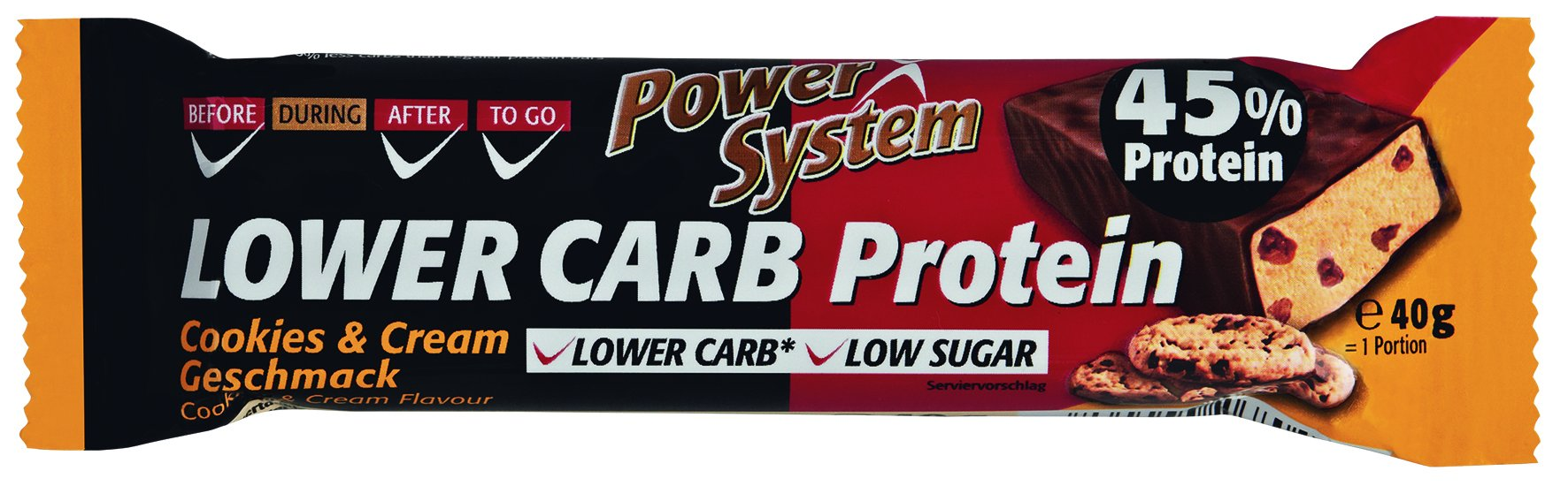 Power System LOWER CARB Cookies & Cream Bar with 45% Protein 40g